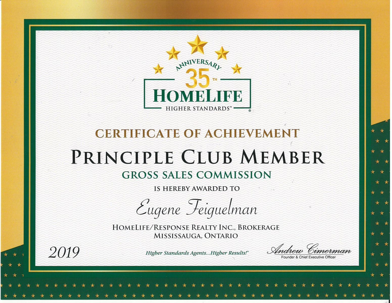 Principle Club Award