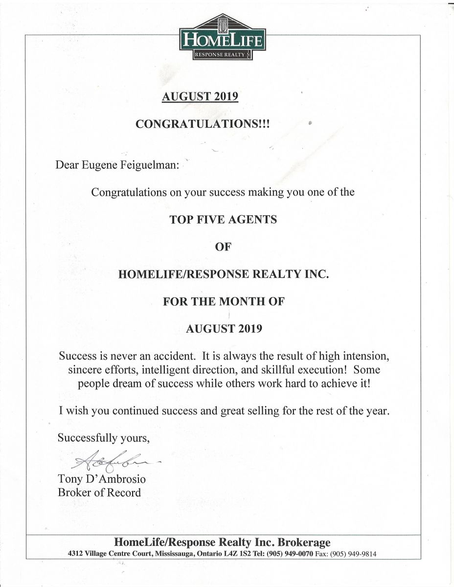 Eugene Feiguelman Real estate Broker 2019 Award
